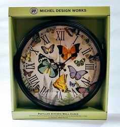 Michel Design Works Papillon Butterfly Metal & Glass Framed Kitchen Wall Clock