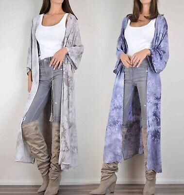 ASOS Lunik Tie Dye Kimono Duster Cardigan Boho Maxi Jacket Long Flowy Open Front Women Tie Dye
