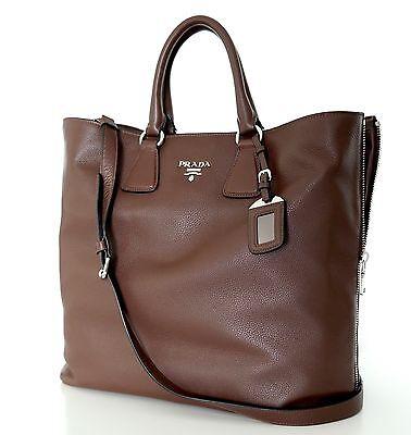 Prada Leather Tote Shoulder Bag Shopper Large Brown New
