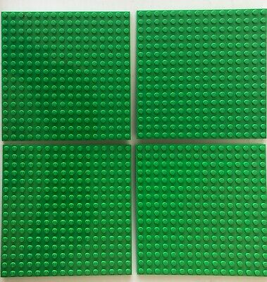 "LEGO Lot of 4 Base plates Bright Green 16x16 dot 5""x5"" square base plate"