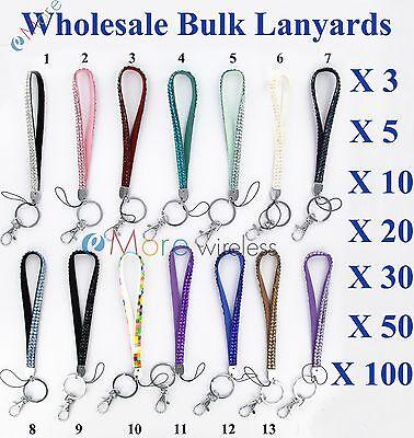 Wholesale Bulk Lot Crystal Rhinestone jewelry wrist lanyard strap Key chain ID 5 - Bulk Lanyard