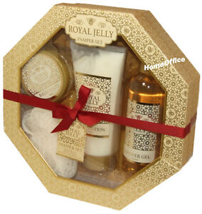 Royal Jelly Pamper Box Gift Set - Bath Body Scrub - Body Lotion etc Xmas Gift