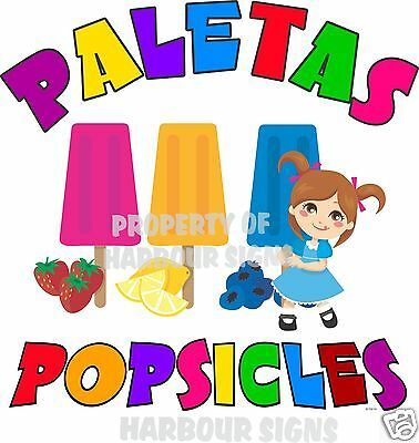 Paletas Popsicles Popsicle Fruit Concession Cart Food Truck Van Decal 14 Menu
