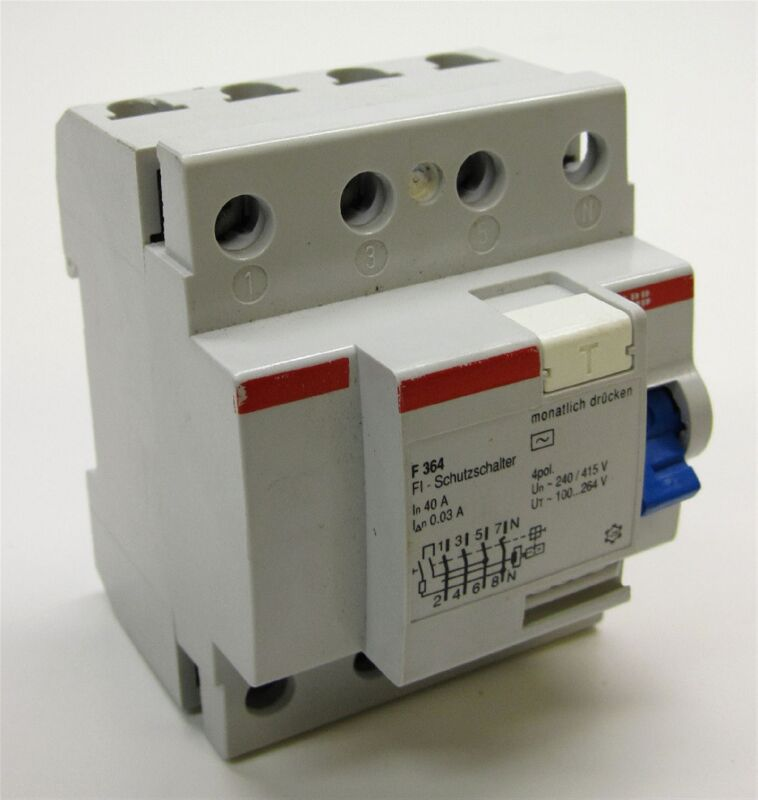 ABB F364-40/0.03 Residual Current-Operated Circuit Breaker, 4-Pole, 40A/30mA