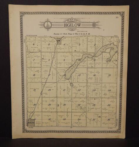 Minnesota Nobles County Map Bigelow Township 1914  L15#33