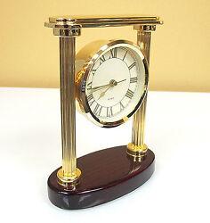 Quartz Desk Clock Mahogany and Gold Tone