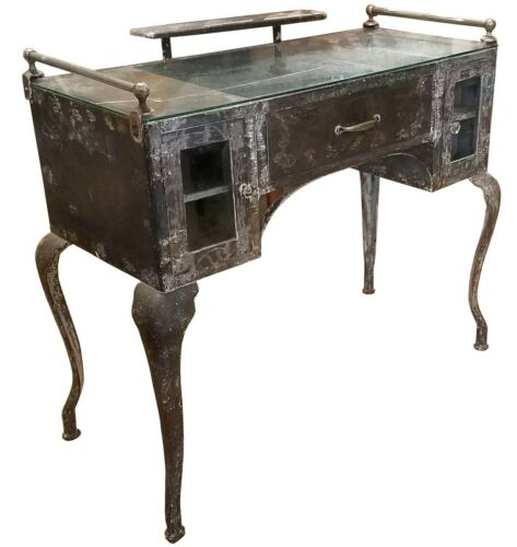 Antique French, Early 20th c. Industrial Metal Vanity Dressing Table
