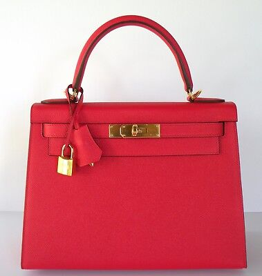 New Hermes Kelly 28 Bag Rouge Tomate Epsom Sellier Gold A 18yrs eBay Trusted