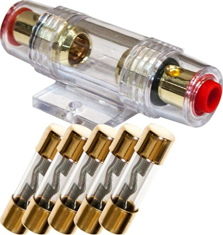 AGU Fuse Holder High Quality Gold Inline 4 6 8 Gauge + 5 Pack 40 AMP AGU Fuses
