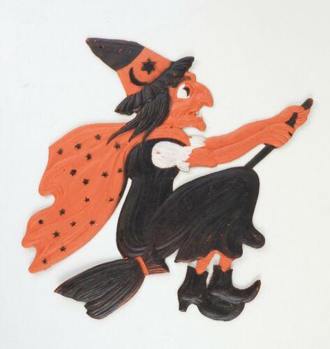Vintage Die Cut Halloween Witch on Broom Embossed Germany