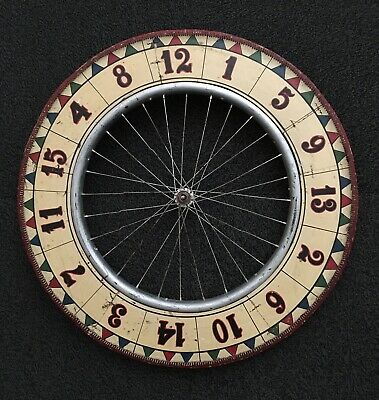 Vintage Carnival Wheel Game Of Chance - Hand Painted & Set On A Wooden Bike Rim Carnival Game Wheel