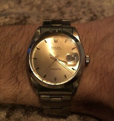 Vintage Rolex Oysterdate Precision Silver Dial Manual winding Men's Watch 6694