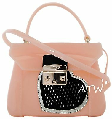 NWT FURLA CANDY MINI LOVE HEART CROSSBODY JELLY BAG MADE IN ITALY NUDE PINK