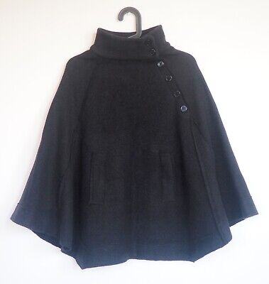 womens COSTUME NATIONAL Black Wool Cape Poncho sz M VERY NICE