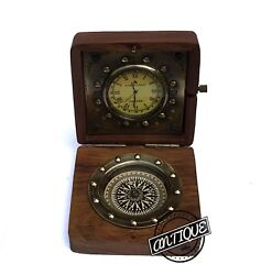 Antique Brass Nautical Compass and Watch Clock Wooden Box Gift Vintage Home Desk