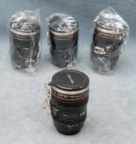 SET OF FOUR CAM LABS SHOT GLASSES/CUPS DISGUISED AS CANON 24-105MM CAMERA LENSES