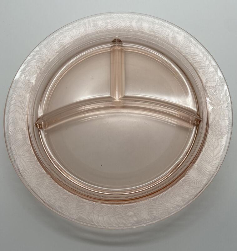 "2 Rare Macbeth Evans Thistle Embossed Edge Pink Depression 10.5"" Grill Plates"