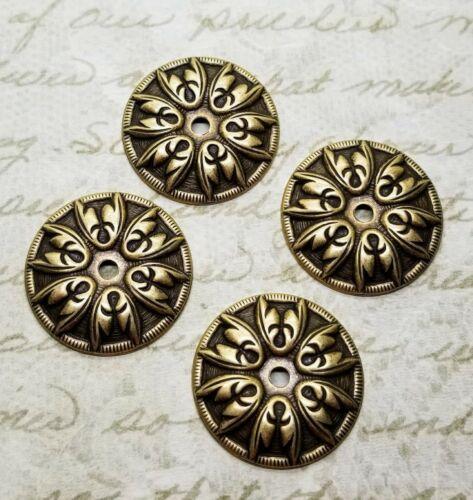 Oxidized Brass Ornate Art Deco Round Stampings (4) - BOS3692