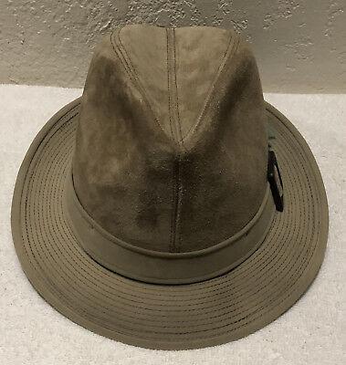 Vintage Dobbs Fifth Avenue New York NY Beige Suede Fedora Hat Sz 7 1/2