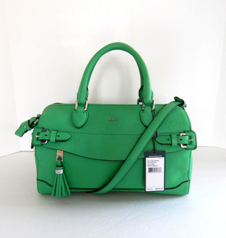 Ralph Lauren Pebbled Leather Green Peterson Satchel  NWT $298 + Tax