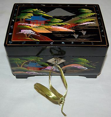 Vintage Asian Lacquer Wood Jewelry Box MOP Painted GNCO Japan Key Black Pink