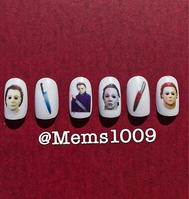Michael Myers nail art  (water decals) Horror Film nail Art. Halloween Nail Art - Halloween New Film