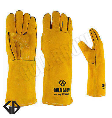Goldbrow Xl Long Welding Gloves Split Cowhide Leather Protect Welder Hands
