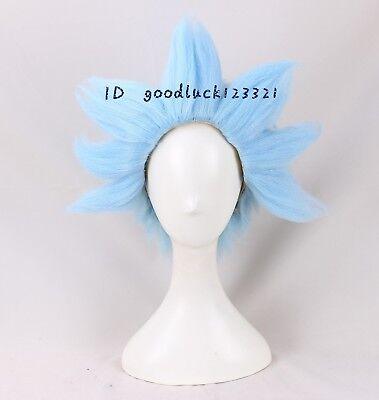 Anogol Rick Sanchez Cosplay Wig Blue Short Hair Halloween Costume Wig +a wig cap (Ricks Halloween)