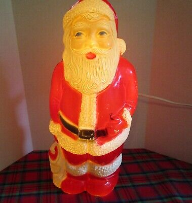 Vintage 13 INCH  Blow Mold Santa Figurine by UNION #7538 Lights Up!! Preowned