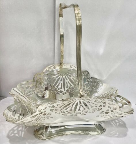 """ENGLISH Silver Plated swing handle Openwork CANDY BASKET 8""""x 6"""", 8 1/2"""" high"""