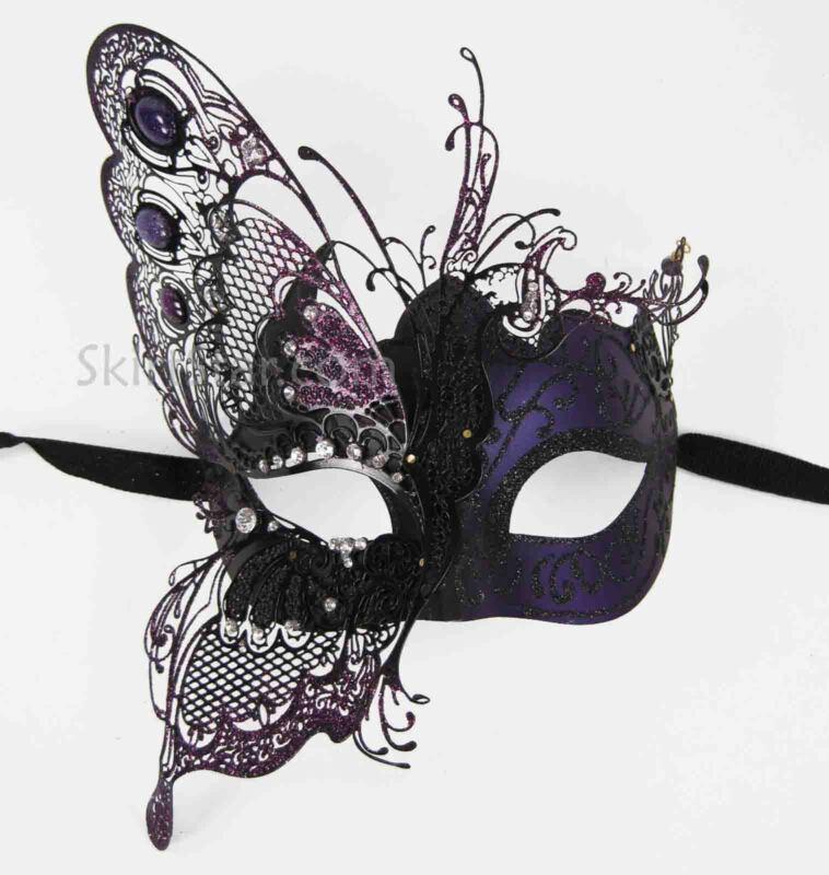 LASER CUT VENETIAN MASK masquerade rhinestone Purple ball fancy butterfly metal