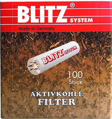 Blitz® Filter 9 mm Filterpfeifen, 100 Activated Charcoal Filters Made in Germany