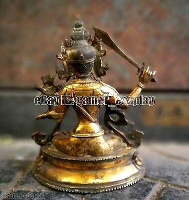 antique Vintage Buddhism Bronze God Buddha Statue Manjusri bodhi-sattva