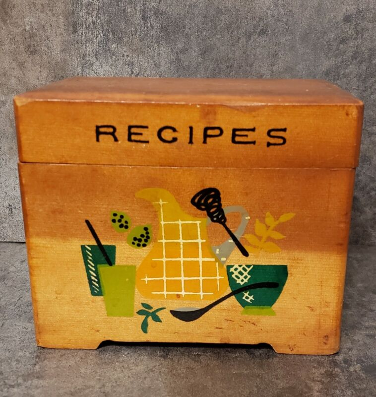 Vintage NEVCO Wood Recipe Box Hand Painted Kitchenware made in Japan
