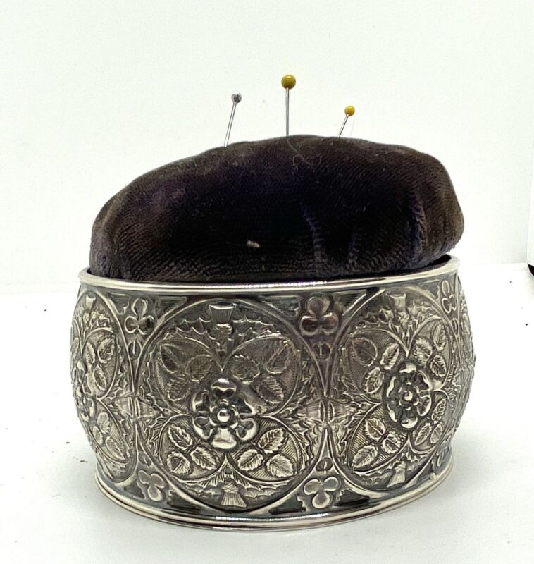 Antique Horace Woodward & Co Sterling Silver Velvet Sewing Pin Cushion