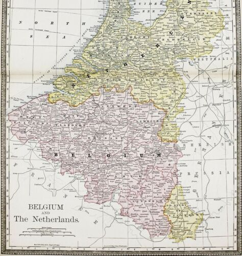 1898 Belgium Netherlands Map Amsterdam Bruges Antwerp Railroads ORIGINAL RARE