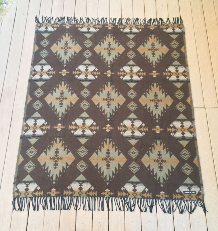 """Sackcloth and Ashes Blanket Brown Mint Aztec Tribal *RARE* 59"""" X 70"""" EXCELLENT!"""