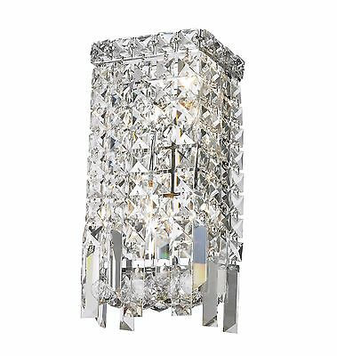 "2-Light Chrome Finish D 6"" H 13"" Cascade Clear Crystal Wall Sconce Light Modern"