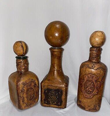 Vintage Italy Leather Clad Glass Bottle Decanter Lot w/Stopper Lion Crest