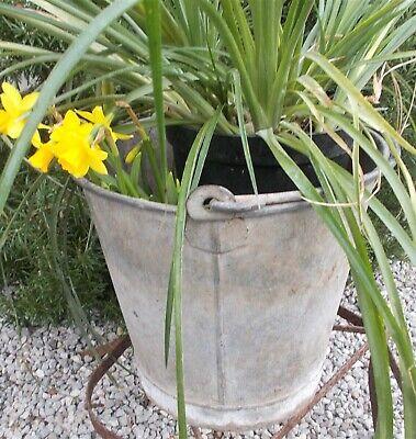 Vintage galvanised bucket, round,French,old reclaimed garden planter pot