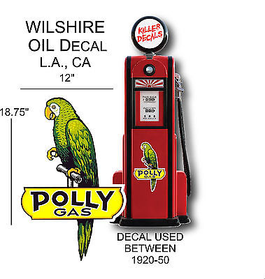 "(POLLY-1) 18.75"" POLLY PAROTT GASOLINE DECAL FOR OIL GAS PUMP LUBSTER"