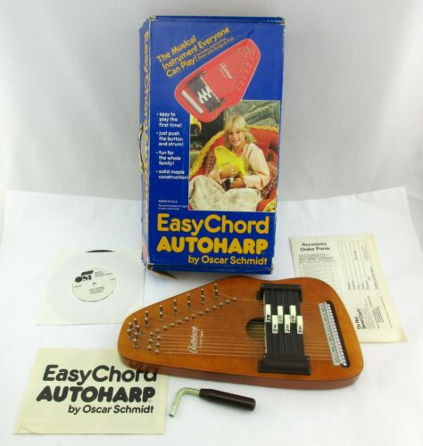 Vtg EasyChord OS-6 Oscar Schmidt Autoharp in Original Box w Accessories VGC