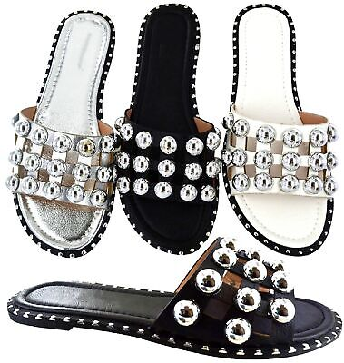 LADIES WOMENS STUDDED SLIDERS FLAT SUMMER CAGE STUDS SLIDES MULES SANDALS SHOES