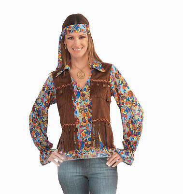 Female Hippie Costume (Groovy Hippie Female Adult Womens Costume Set Headband Vest Shirt)