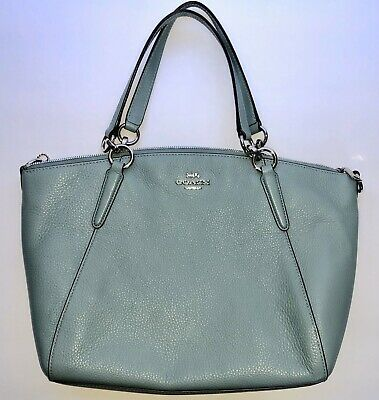 Coach Kelsey Leather Handbag (F28993) AND Matching Wallet - Light Blue