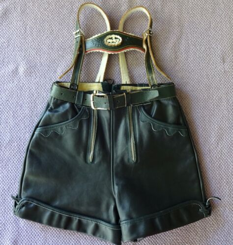 Vtg Green Leather Lederhosen Shorts Breeches w/Deer Emblem Suspenders Youth/Kids