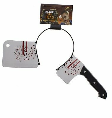 Halloween Cleaver Thru Head Scary Fake Gory Bloody Costume Party Accesories - Bloody Gory Halloween Costumes