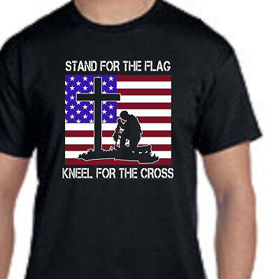 Stand For The Flag Kneel For The Cross Patriotic Religious Christian T-Shirt