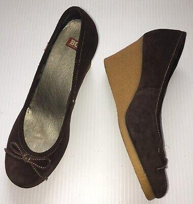 BC FOOTWEAR  Brown Leather Suede Slip-on Wedge Heels Platform Sz 9 Shoes Women ()