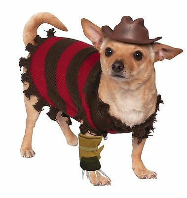 ELM STREET FREDDY KRUEGER DOG HALLOWEEN PET ANIMAL COSTUME (Hund Freddy Krueger Kostüm)